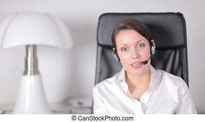a pretty customer service operator or secretary