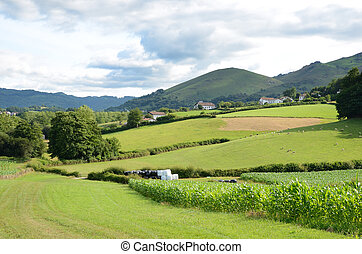 French country landscape, Pyrenees-Atlantiques - There are...