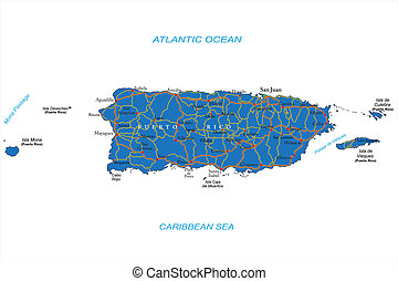 Puerto Rico Map - Highly detailed vector map of Puerto Rico...