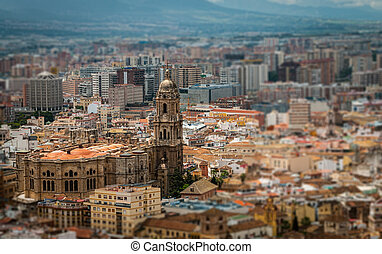 cathedral of malaga aerial vie - Aerial view of famous...