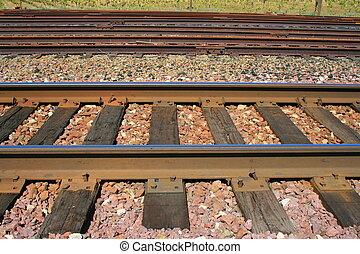 Railroad Tracks - Close up of the railroad tracks.
