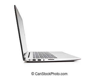 Modern laptop side view, on white background.