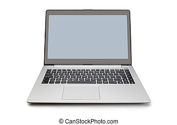 Office modern laptop isolated on white background.