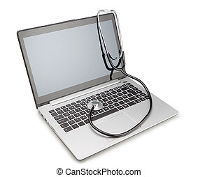 Medical stethoscope on a modern laptop, for the treatment of viruses. Isolated.