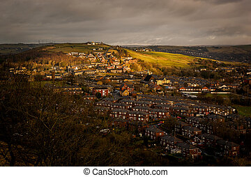 town on hill countryside - A small rural british town...