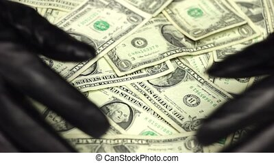 Hands of Burglar Stealing Money - Hands of criminal in...