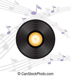 vinyl record with orange label