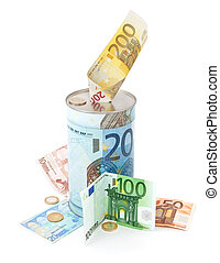 Metal piggy bank with Euro symbols for saving money. On a white background with euro banknotes.