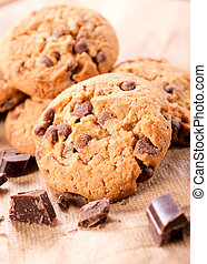 Sweet cookies with chocolate crumbs. Selective focus on the...