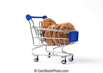 Cookis the trolley - Sweet chocolate cookies in trolley on...