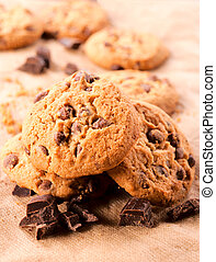 Cookies time - Selective focus on the front chocolate cookie