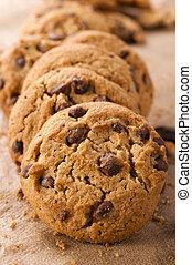 Dark cookies - Selective focus on the front dark cookie