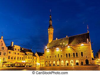 townhall square tallinn night