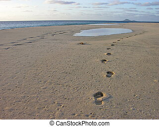footsteps on the beach to infinity near the atlantic ocean
