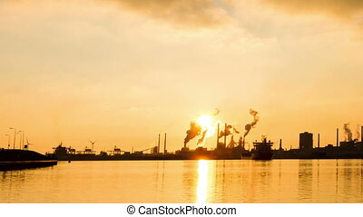 Sunset industry time lapse - Beautiful full HD time lapse of...