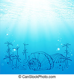 Sea Life - Illustration Of Abstract Sea Life With Shell and...
