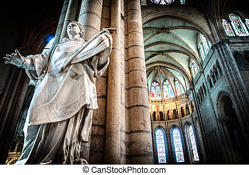 Interior of old catholic church, France. - Interior of old...