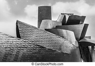 View of Guggenheim Museum in Bilbao, Spain, Europe. -...