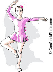 Ballerina little girl in a pink dress and pointe