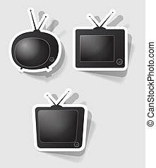 vector retro tv set - set of vector retro televisions of...