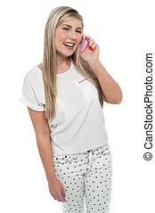 Teen girl engrossed in conversation