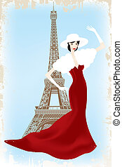 Fashion show in Paris - eps10 vector illustration of fashion...