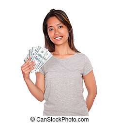 Charming asiatic young woman with cash money - Portrait of a...