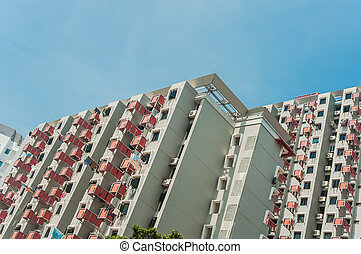 High Rise apartment (condominium) and HDB building in a...