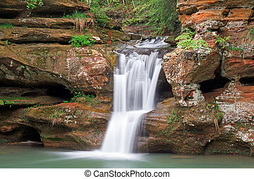 Waterfall in the Hocking Hills - The beautiful Upper Falls,...