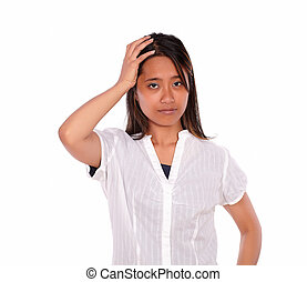 Charming asiatic young woman with headache
