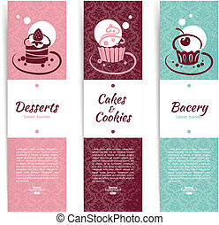 Set of vintage bakery banners with cupcakes. Menu for...