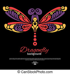 Background with beautiful dragonfly. Tattoo illustration
