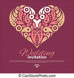 Wedding invitation card with decorative stylish heart