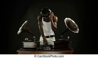 super cool guy djs with retro gramophones original concept...