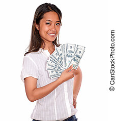 Smiling asiatic young woman with cash money