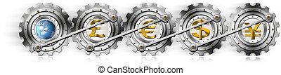 Euro Dollars Pound Yen Locomotive Gears - 4 currency symbols...