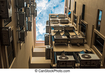 Urban Mess - A lot of Air conditioner (aircon) in a housing...