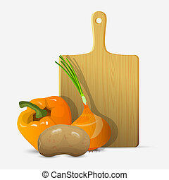 Cutting board and vegetables. Vector illustration