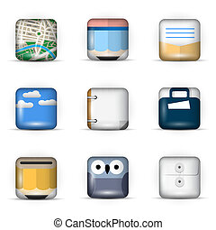 Vector set of 3D App Icons