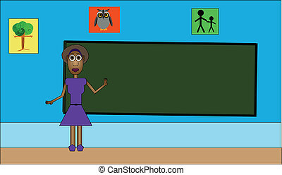 Teaching in the Classroom - Vector illustration of woman...