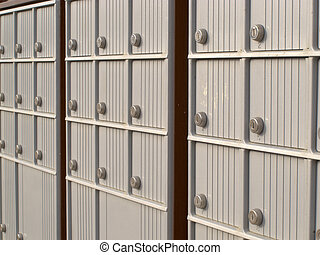 Locker rows of rural Canada Post metal mail box - Rows of...
