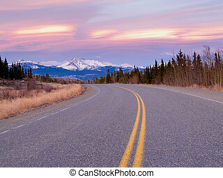 North Klondike Hwy near Whitehorse Yukon Canada - Early...