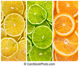 Background with citrus-fruit of lime lemon and orange slices...