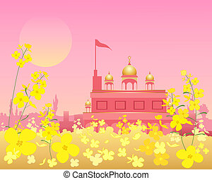 gurdwara at sunset - an illustration of an ornate gurdwara...