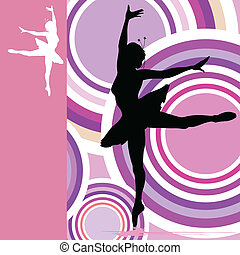 ballerina on color background vector illustration