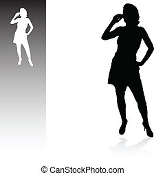 girl talking by mobile vector illustration