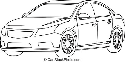 car outline vector - the car outline vector isolate on white...