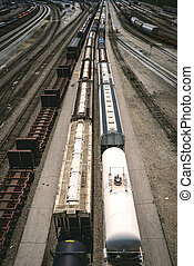 Aerial View Train - An aerial view of a train leaving the...