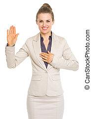 empresa / negocio, mujer, juramento, verdad