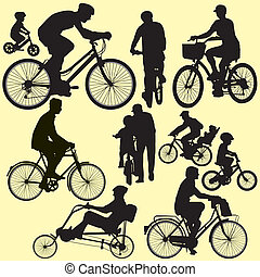 riding bicycle - vector - people riding bicycle vector...